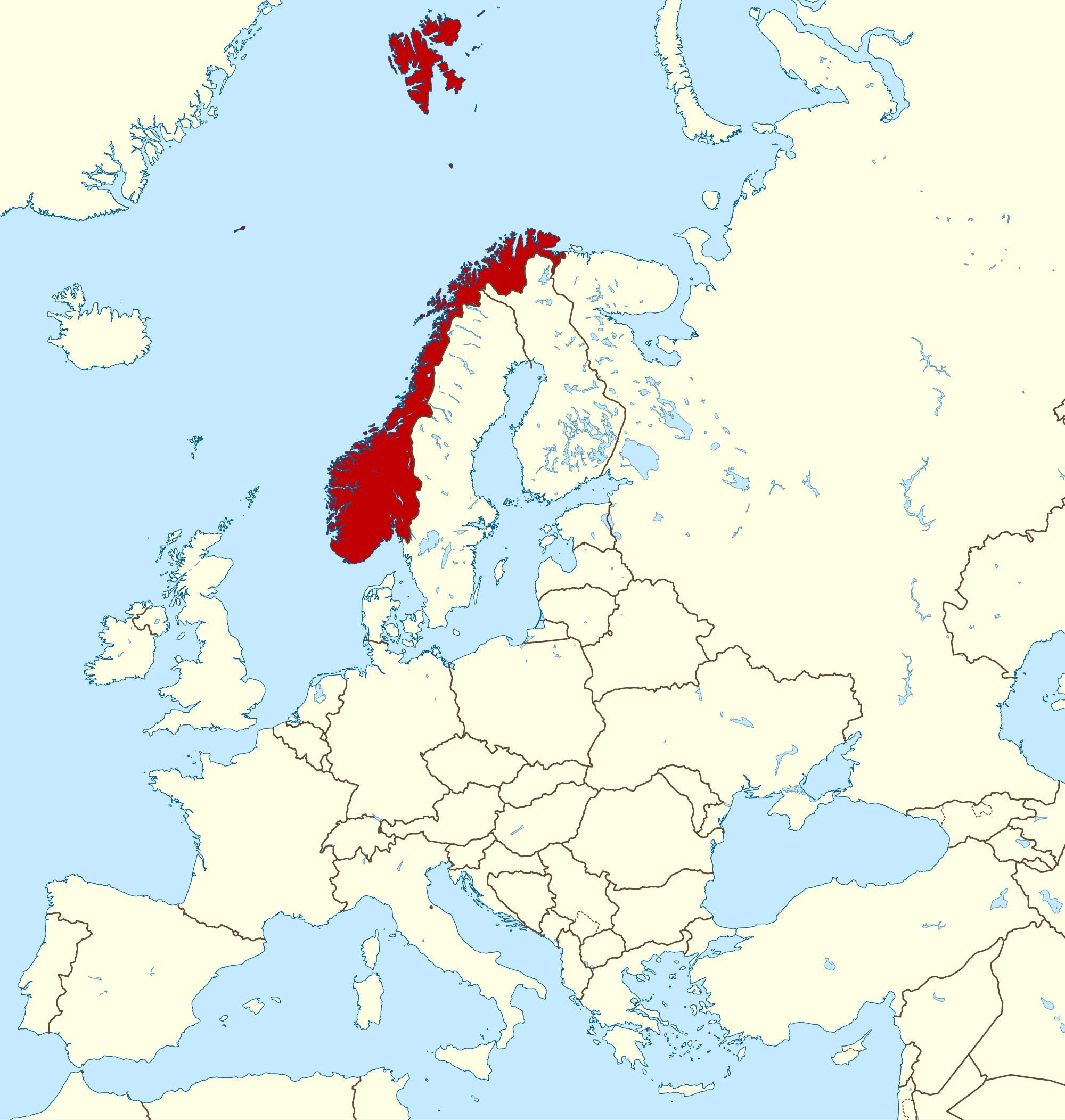 Carte Europe Norvege.La Norvege Carte Europe Carte De La Norvege Et De L Europe
